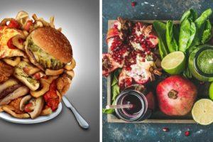 ジャンクフードと野菜・果物