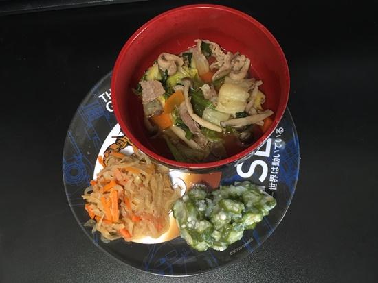 冷凍弁当「冬野菜のすき焼き風セット」解凍後