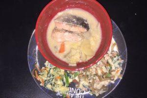 冷凍弁当「北海道産鮭(骨なし)の石狩煮セット」解凍後